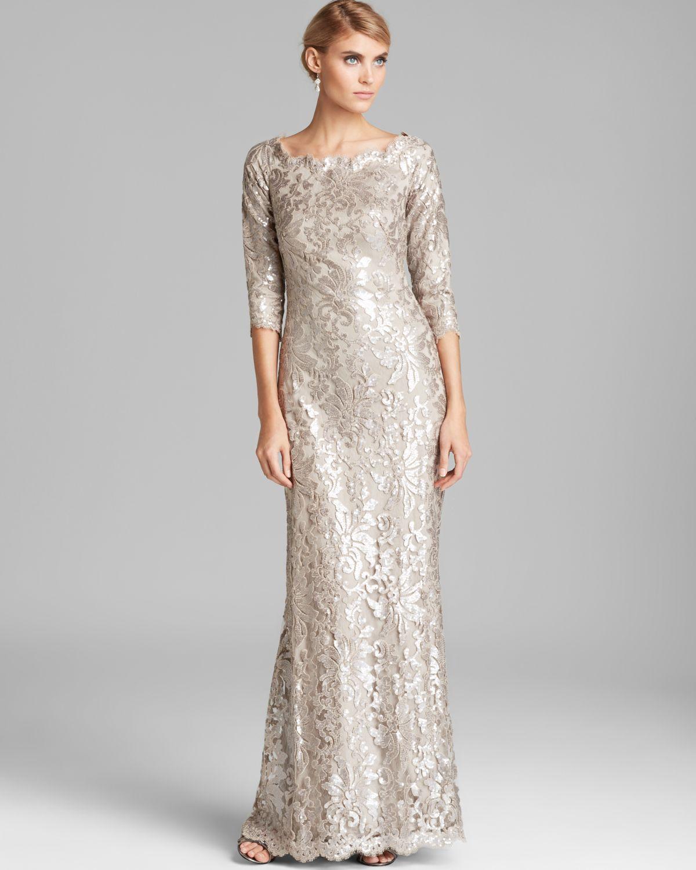 c461d7be719 Tadashi Shoji Off-Shoulder Metallic Lace Gown in Metallic - Lyst