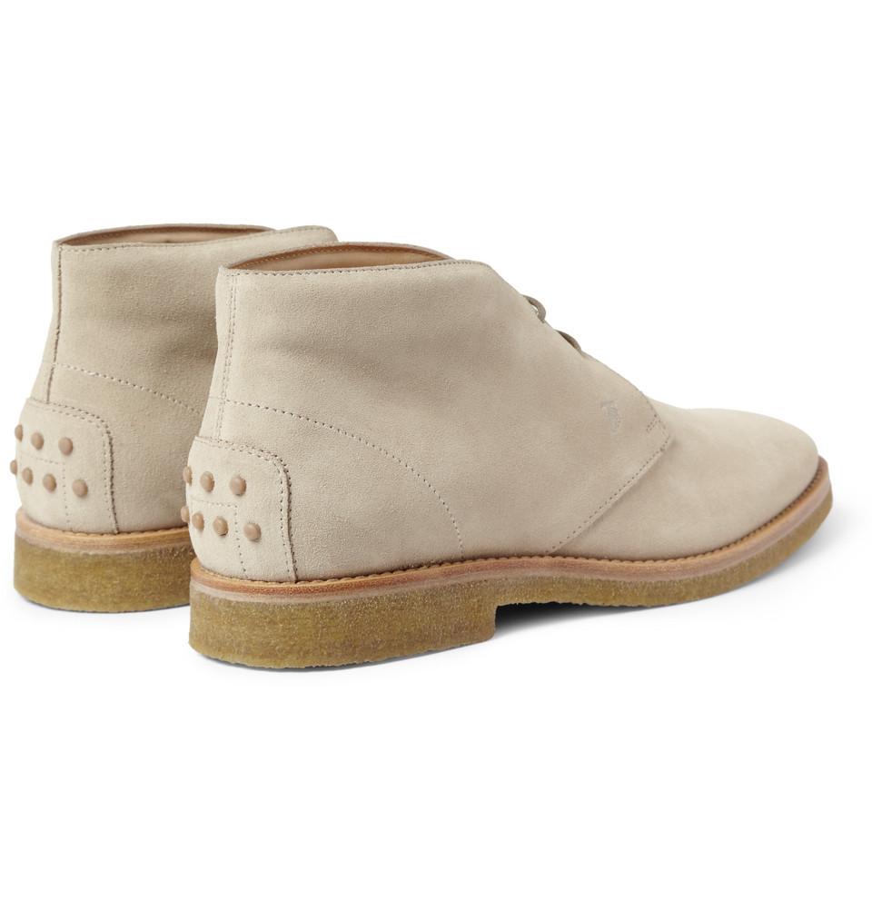tod 39 s crepesole suede desert boots in natural for men lyst. Black Bedroom Furniture Sets. Home Design Ideas