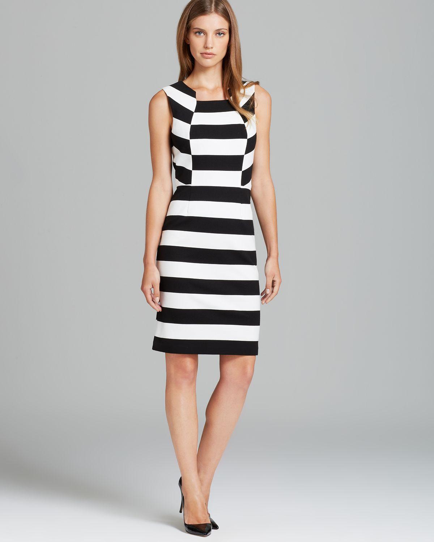 Trina Turk Dress Marsha Stripe In Black Lyst