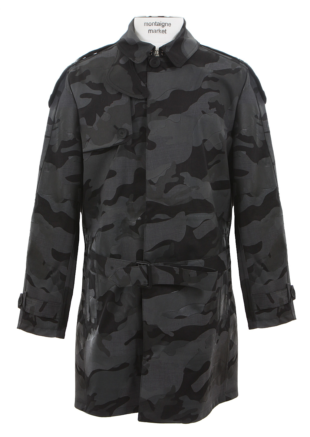 Valentino Camo Print Canvas And Coated Fabric Trench Coat