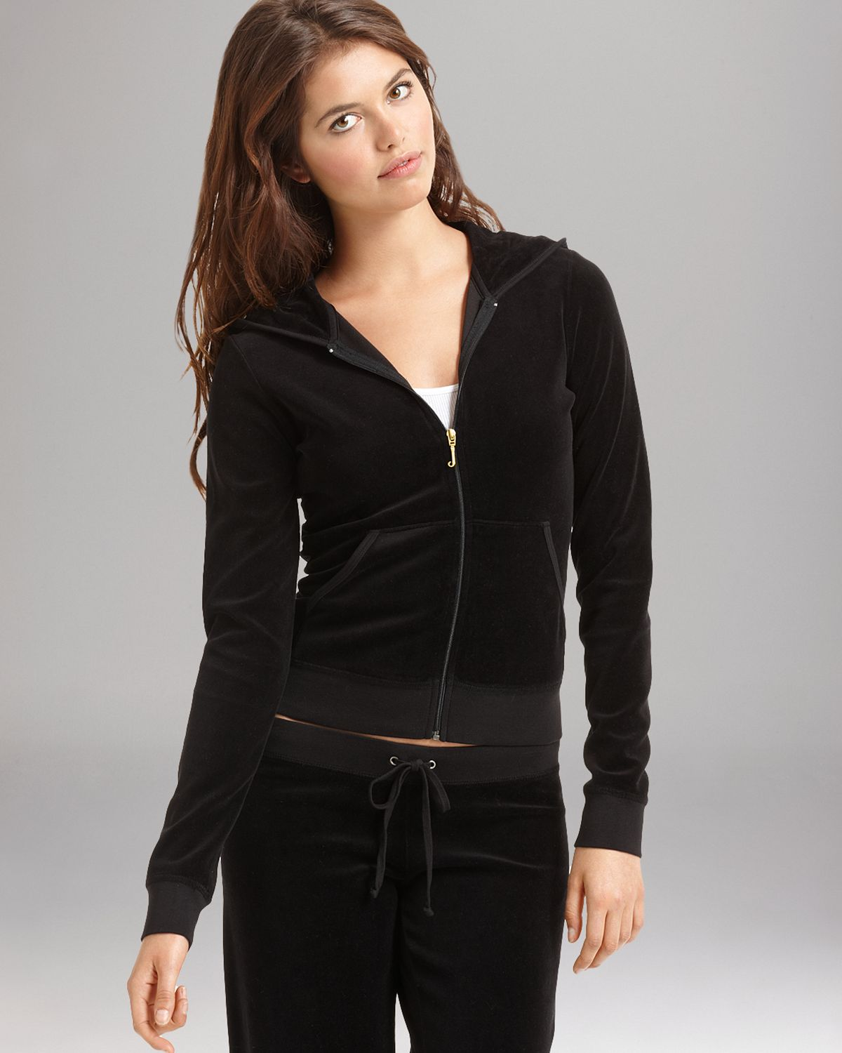 Lyst - Juicy Couture Velour Hoodie in Top Hat in Natural e012efbf5d