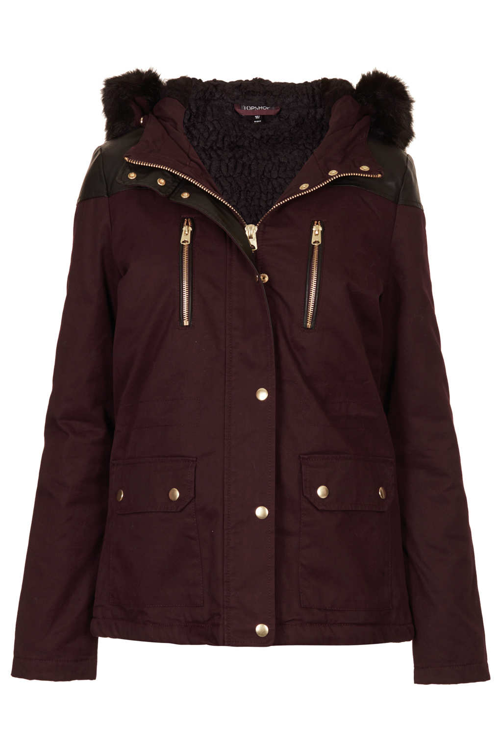 Topshop Fur Trim Short Parka Jacket in Purple | Lyst