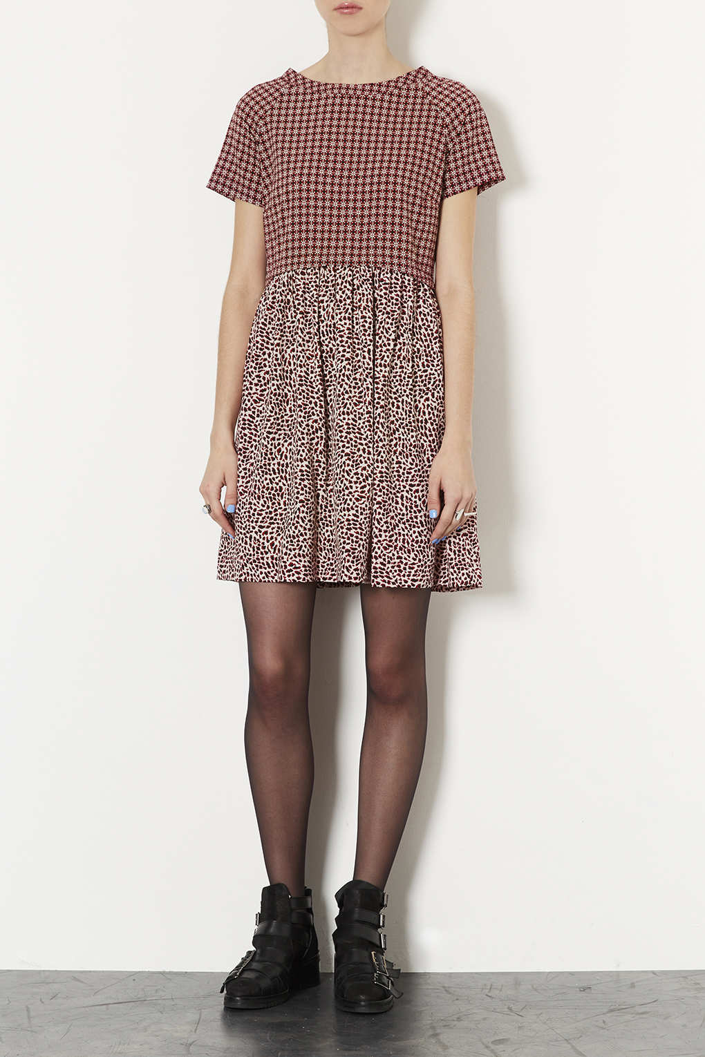 e852ea7c6aa Lyst - TOPSHOP Animal Tile Mix Tunic Dress in Red