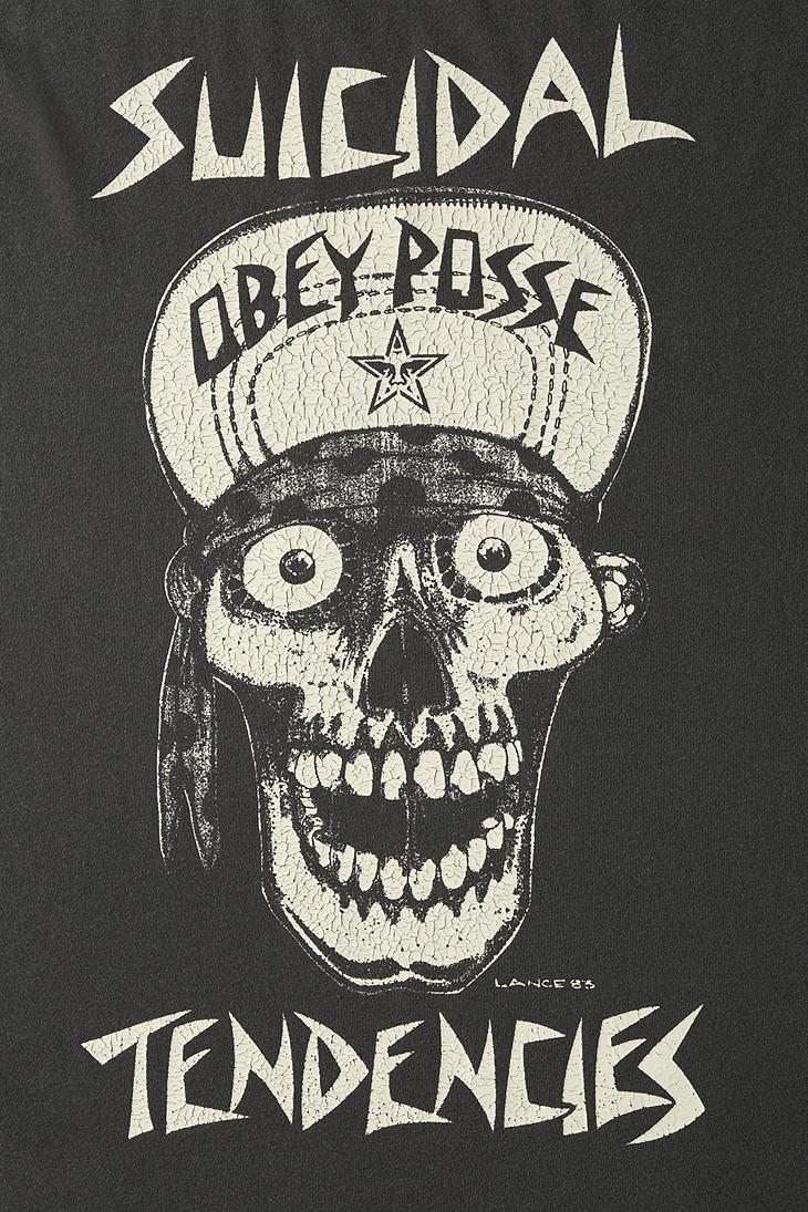 Lyst Urban Outfitters Obey X Suicidal Tendencies Flip Cap Skull Tee In Black For Men