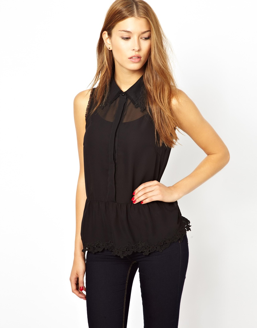 Images of Black Sleeveless Blouse - Reikian