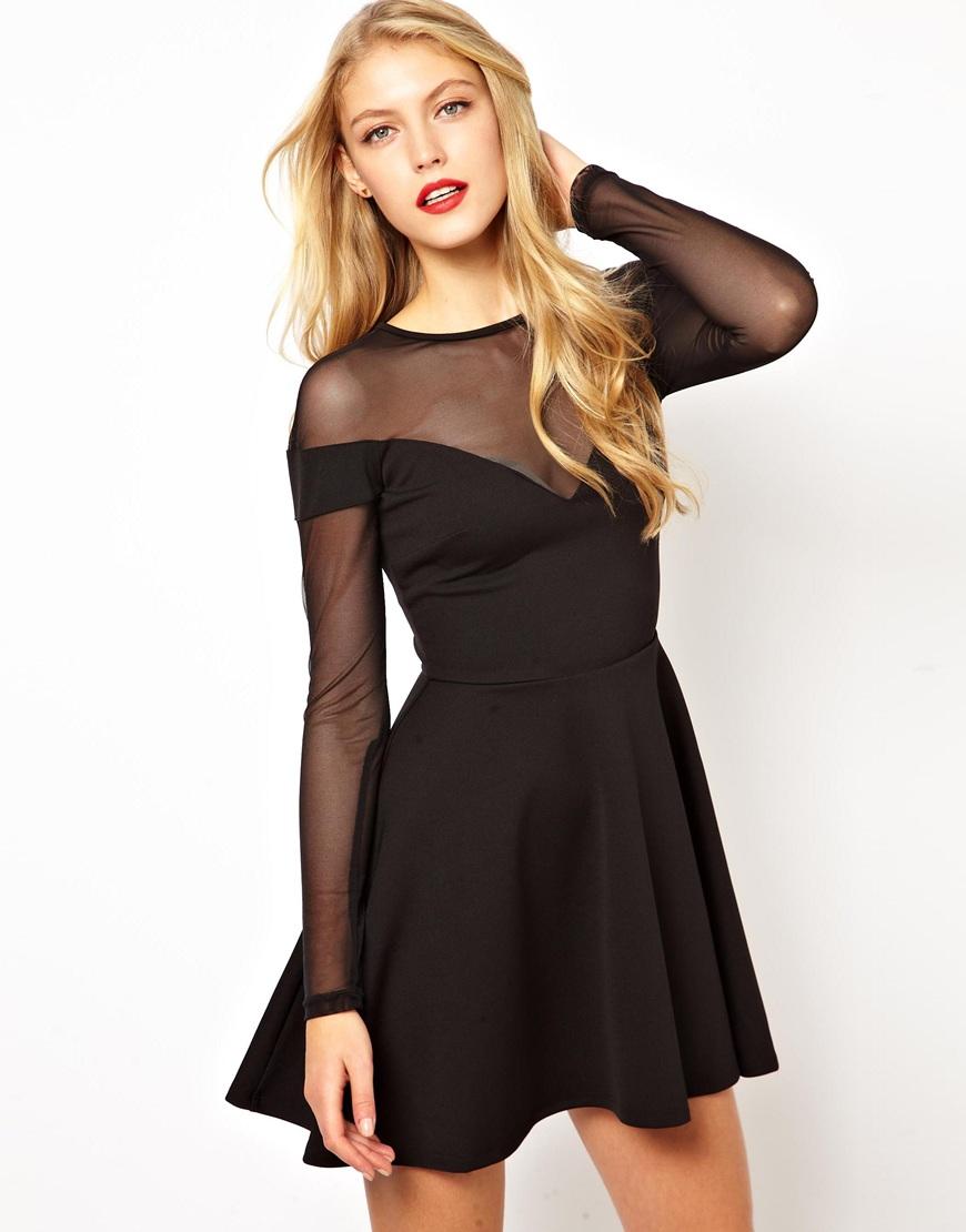 25d22f752e4f ASOS Sweetheart Mesh Insert Skater Dress in Black - Lyst