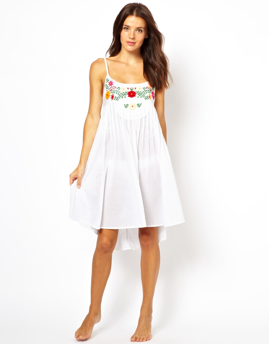 6fd1c9a9ac ASOS Floral Embroidered Cotton Beach Dress in White - Lyst