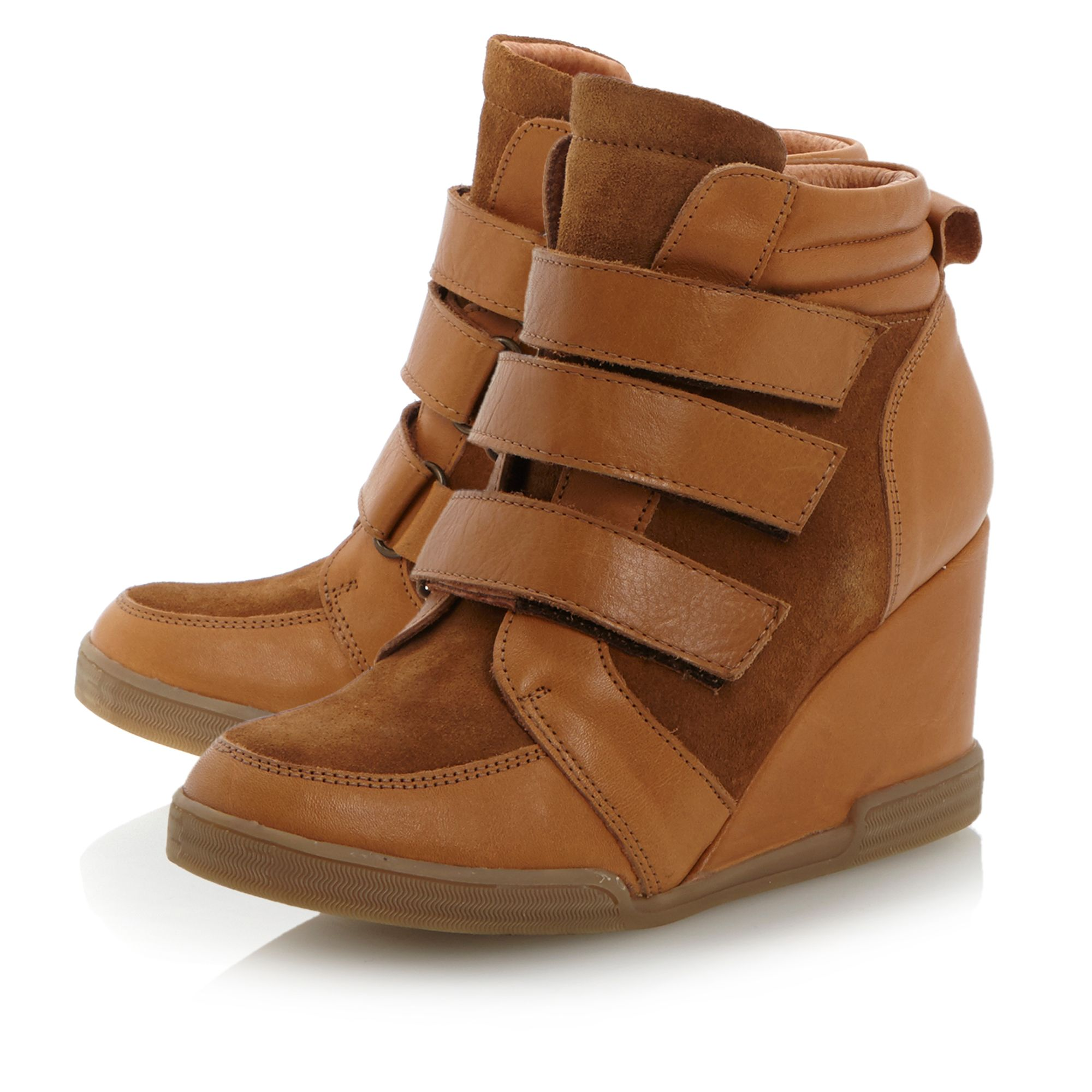 dune lacota 3 velcro wedge boots in brown lyst