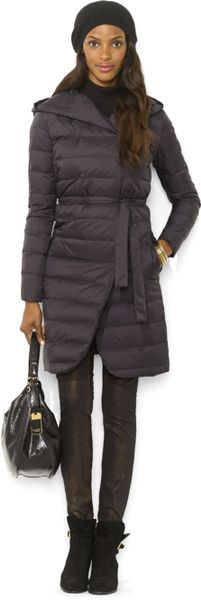 Lauren By Ralph Lauren Hooded Long Quilted Down Puffer In