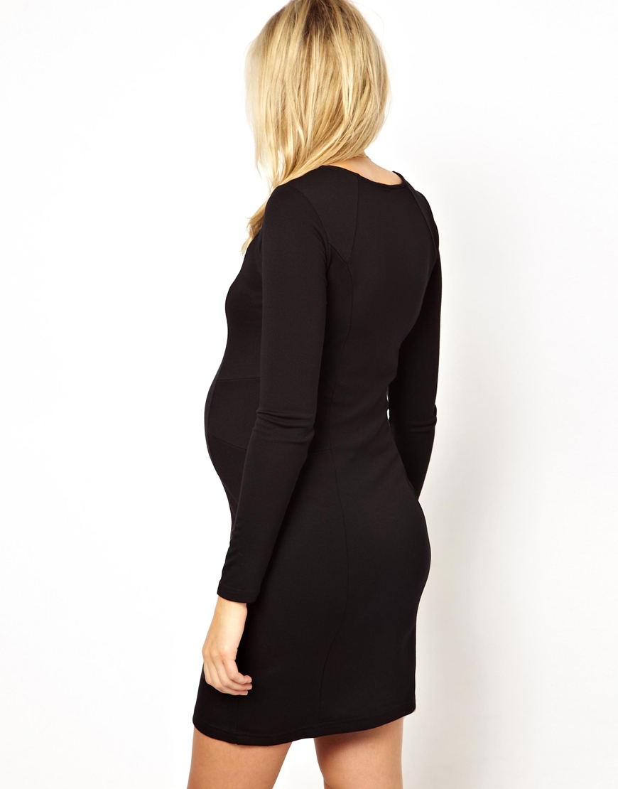 d17b04cf ASOS Mamalicious Long Sleeve Jersey Dress in Black - Lyst
