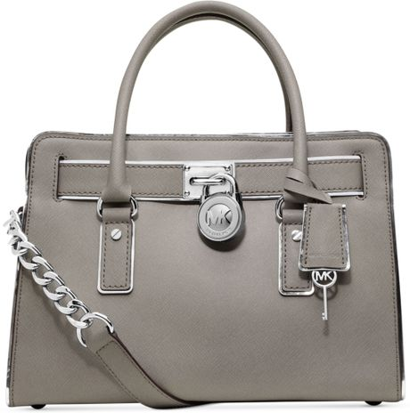 Michael Kors Hamilton Specchio East West Satchel in Gray (PEARL GREY)