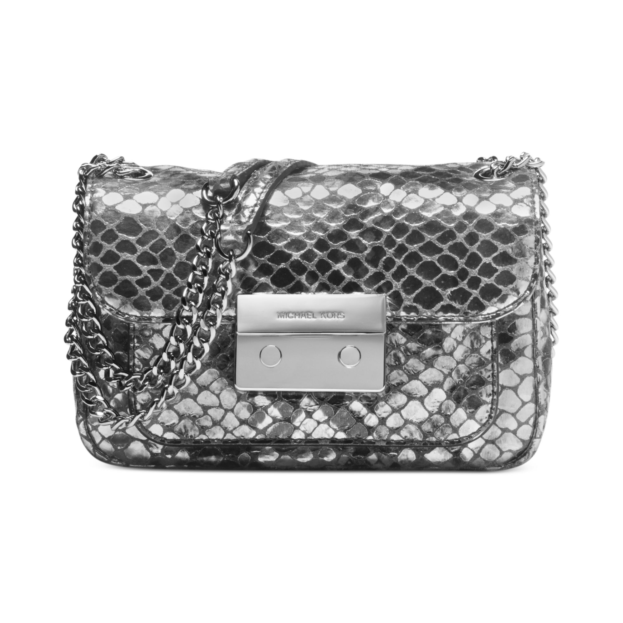 michael kors clutch in silver lyst. Black Bedroom Furniture Sets. Home Design Ideas