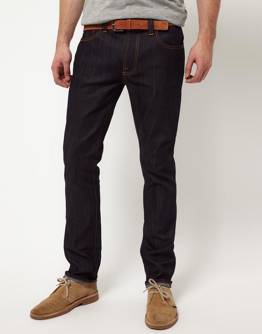 nudie jeans ecru embro thin finn slim fit jeans in organic. Black Bedroom Furniture Sets. Home Design Ideas