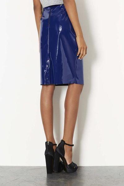 topshop navy blue vinyl pencil skirt in blue navy blue