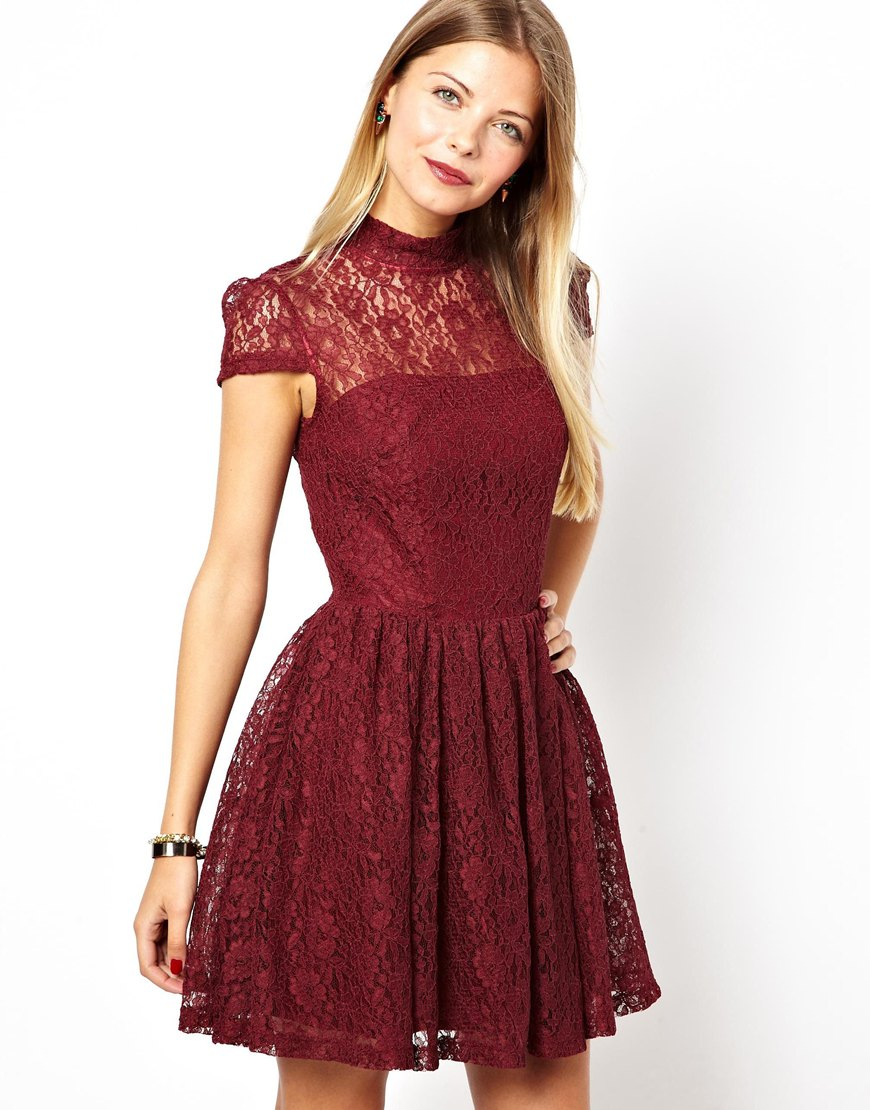 Asos Lace High Neck Prom Dress In Burgundy Purple Lyst