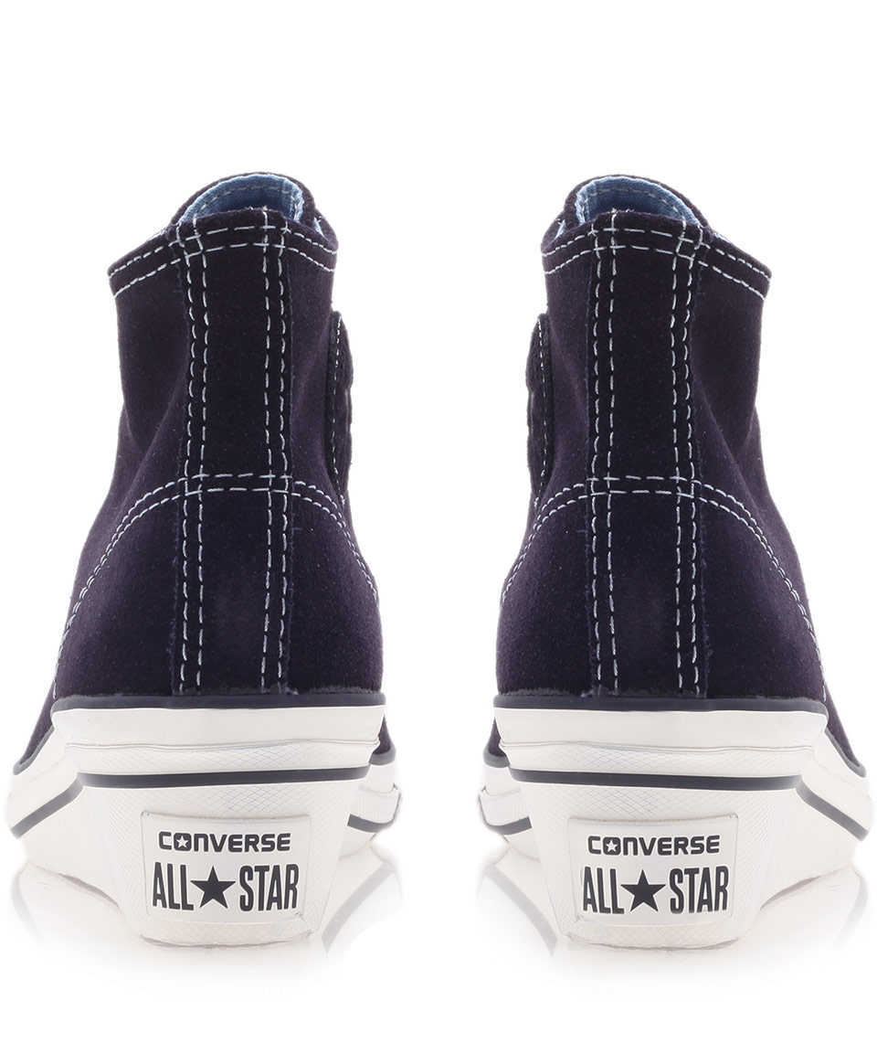 Lyst - Converse Navy Chuck Taylor Suede Hi Top Wedge Trainers in Blue 0e981cb49