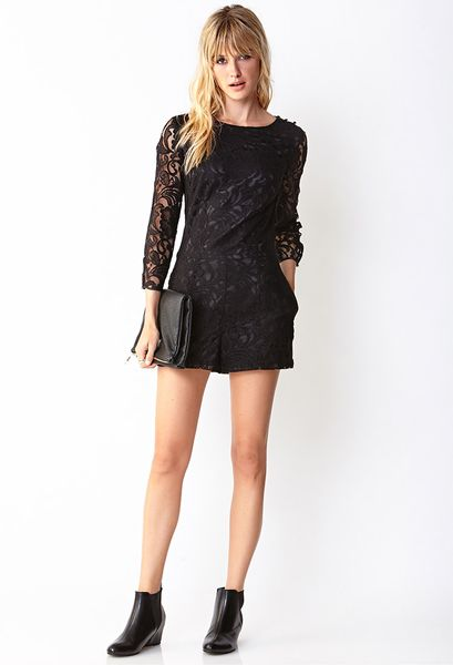 Forever 21 Musthave Lace Romper in Black