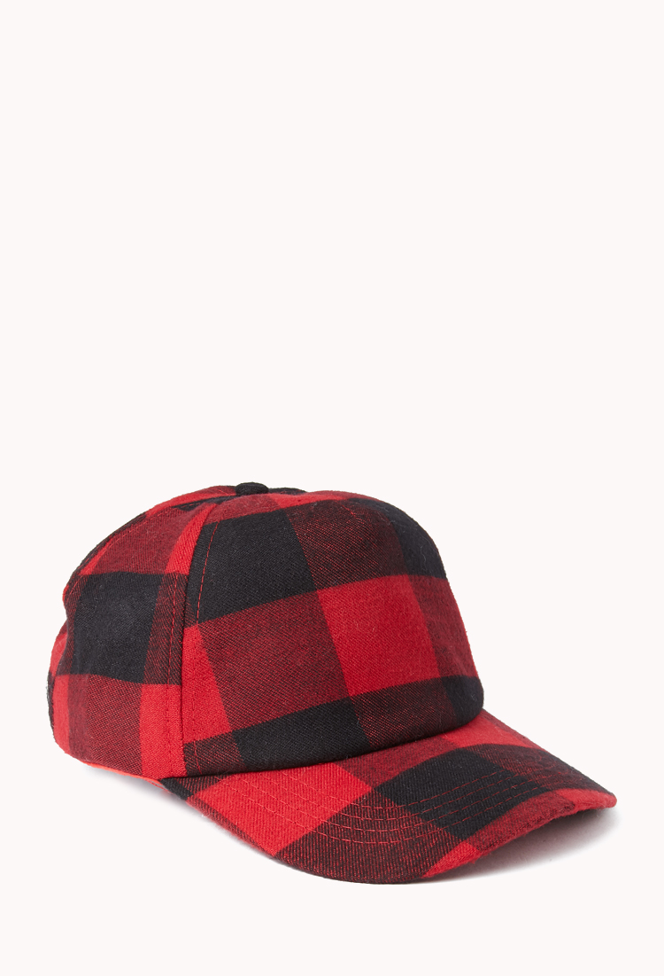 Lyst - Forever 21 Grunge Plaid Baseball Cap in Red b45a040ce30