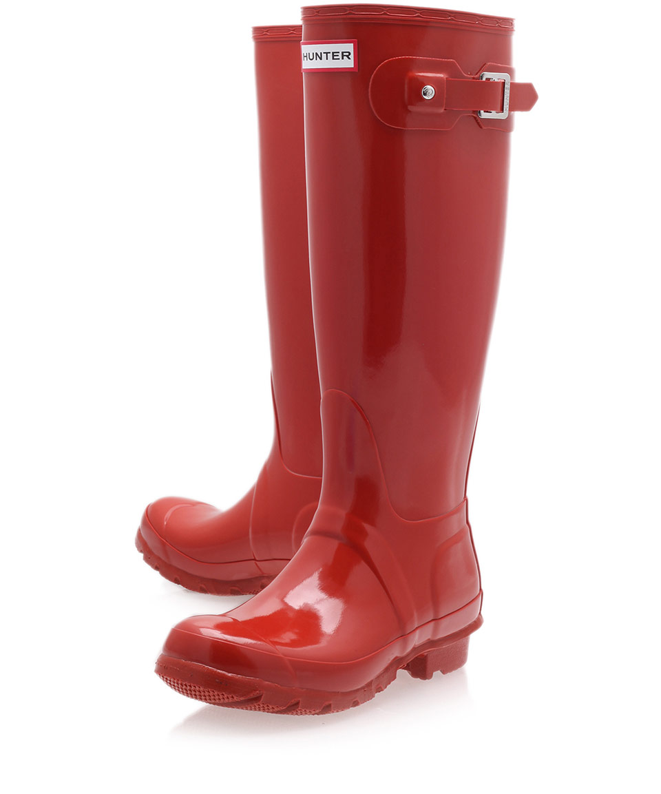 lyst hunter brick original gloss tall wellington boots