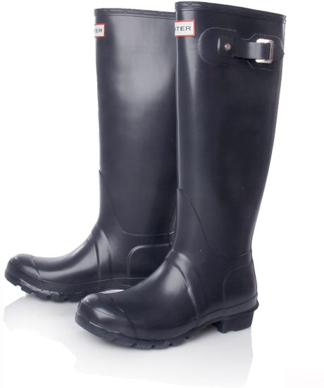 Hunter Navy Original Tall Low Heel Wellington Boots In