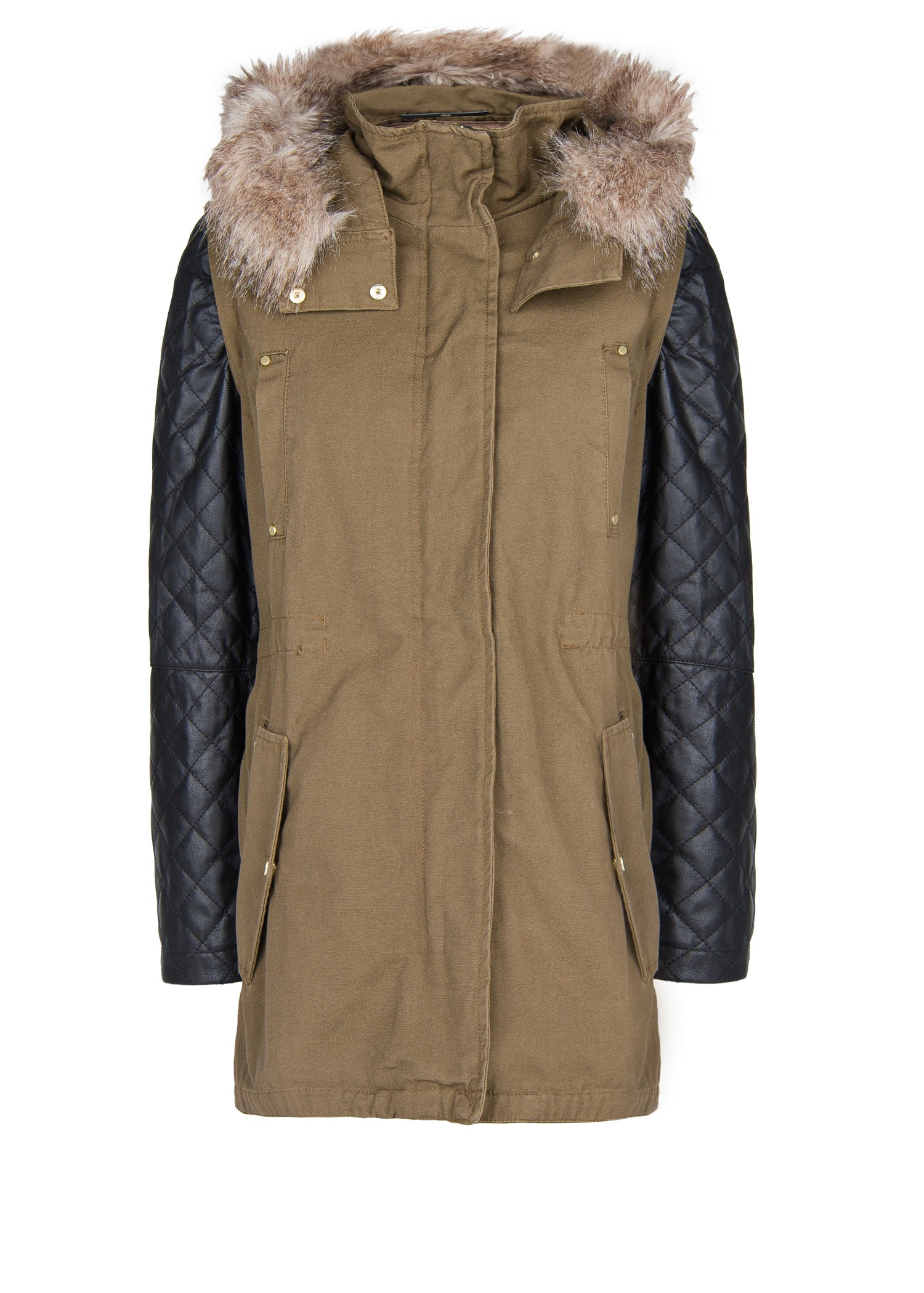 Mango Leather Sleeve Parka Jacket In Hunting Green Green