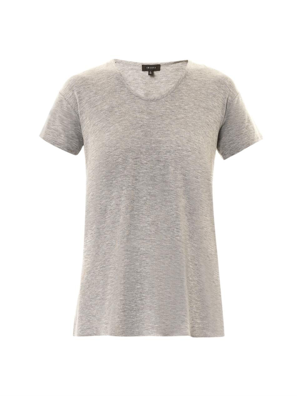 Theory Silvan Jersey T Shirt In Gray Lyst White Long Gallery
