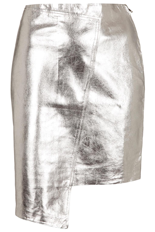 f74c20152ca8 Lyst - TOPSHOP Foil Wrap Skirt in Metallic