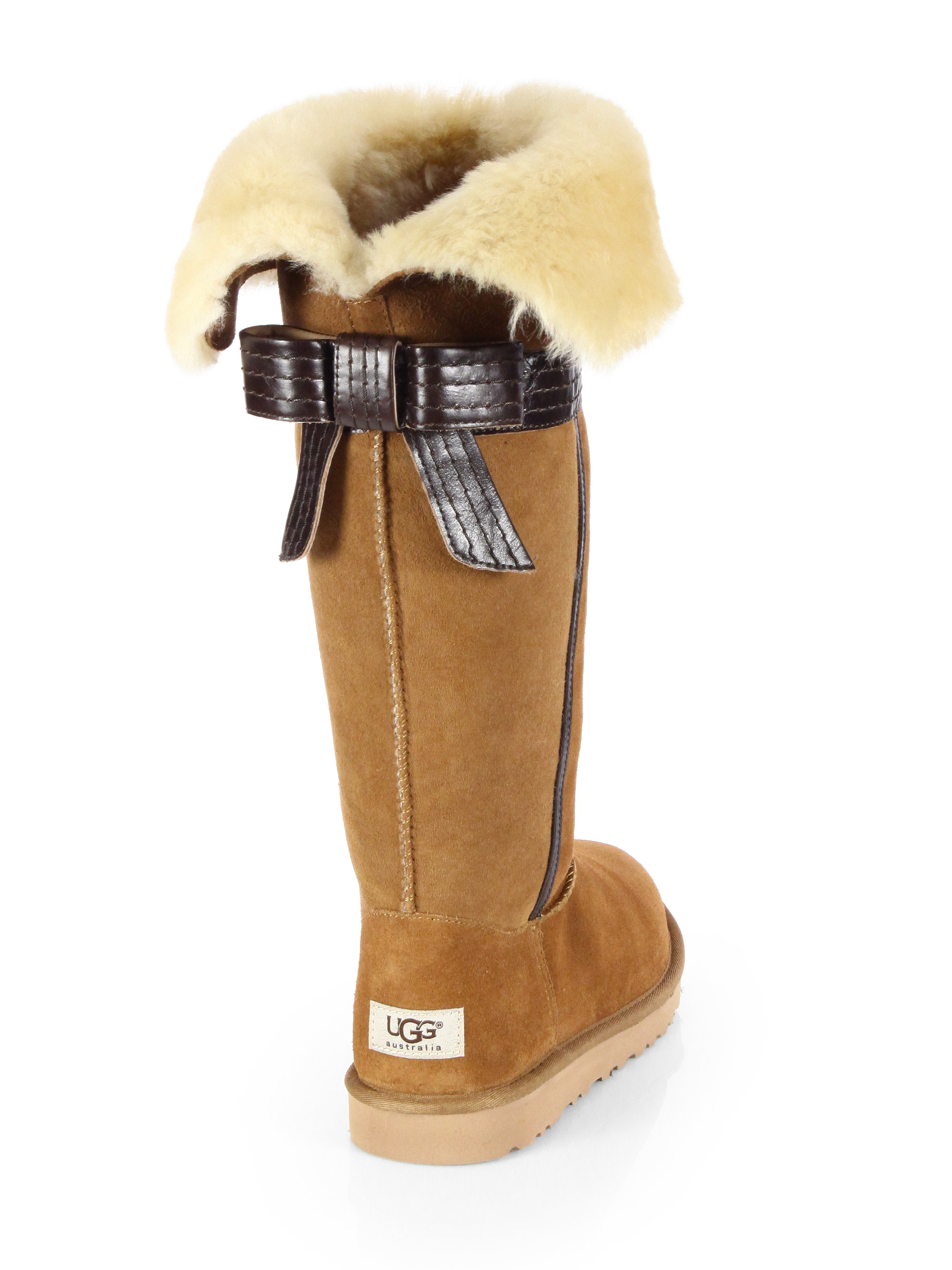 a197c154214 UGG Brown Genevieve Bowtrimmed Suede Boots