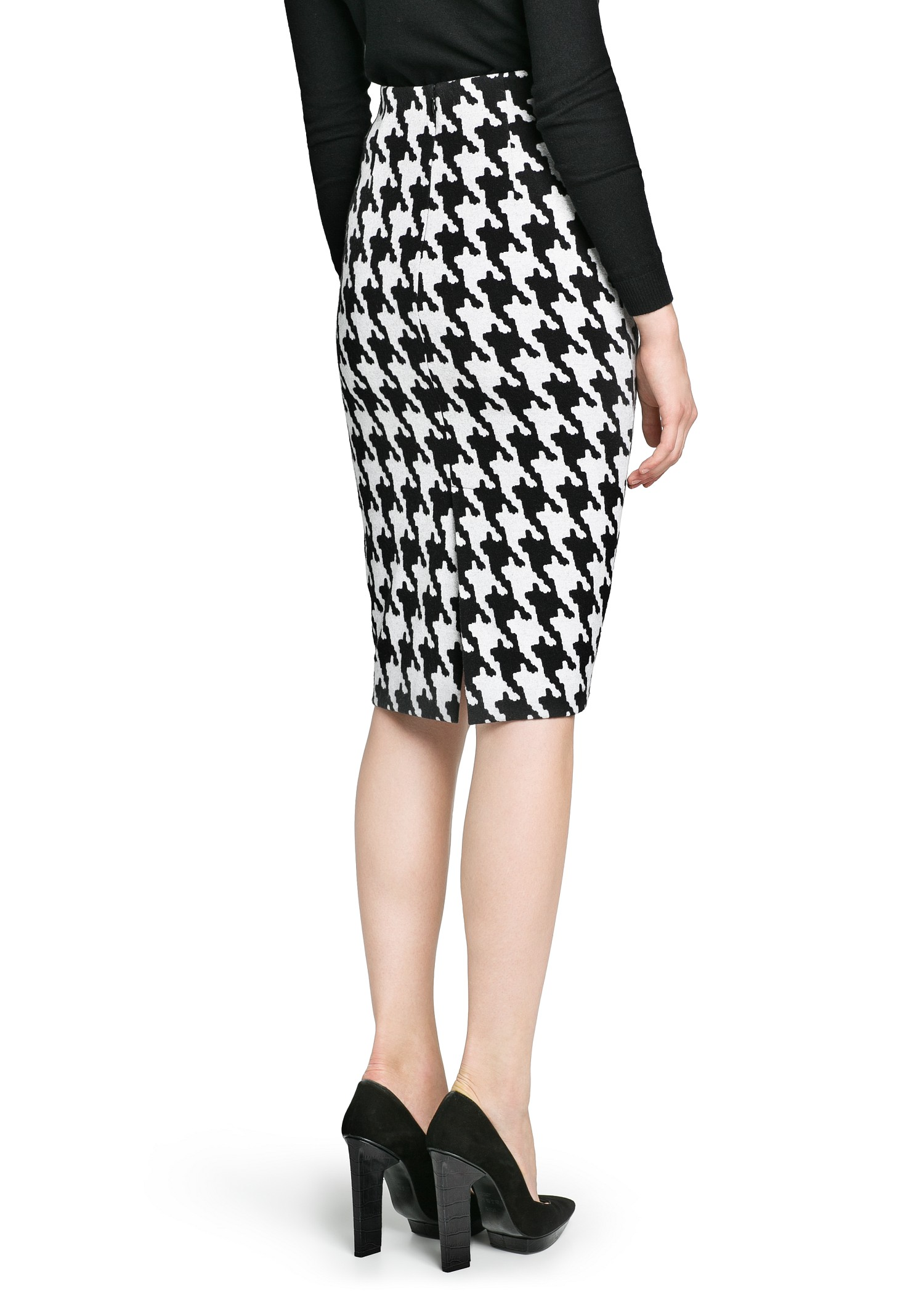 Mango Houndstooth Pencil Skirt in White | Lyst
