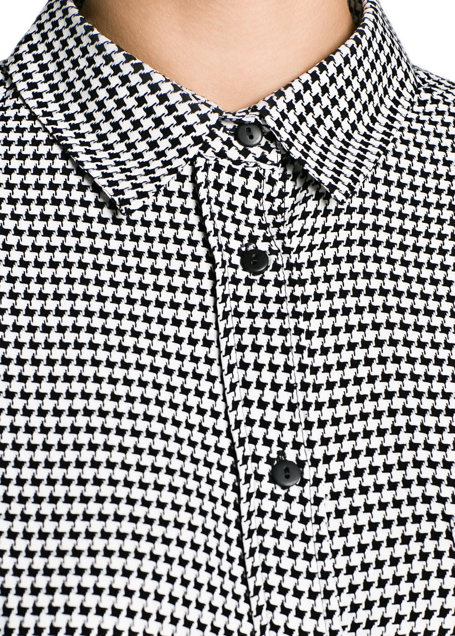 Mango Houndstooth Shirt In Black Lyst