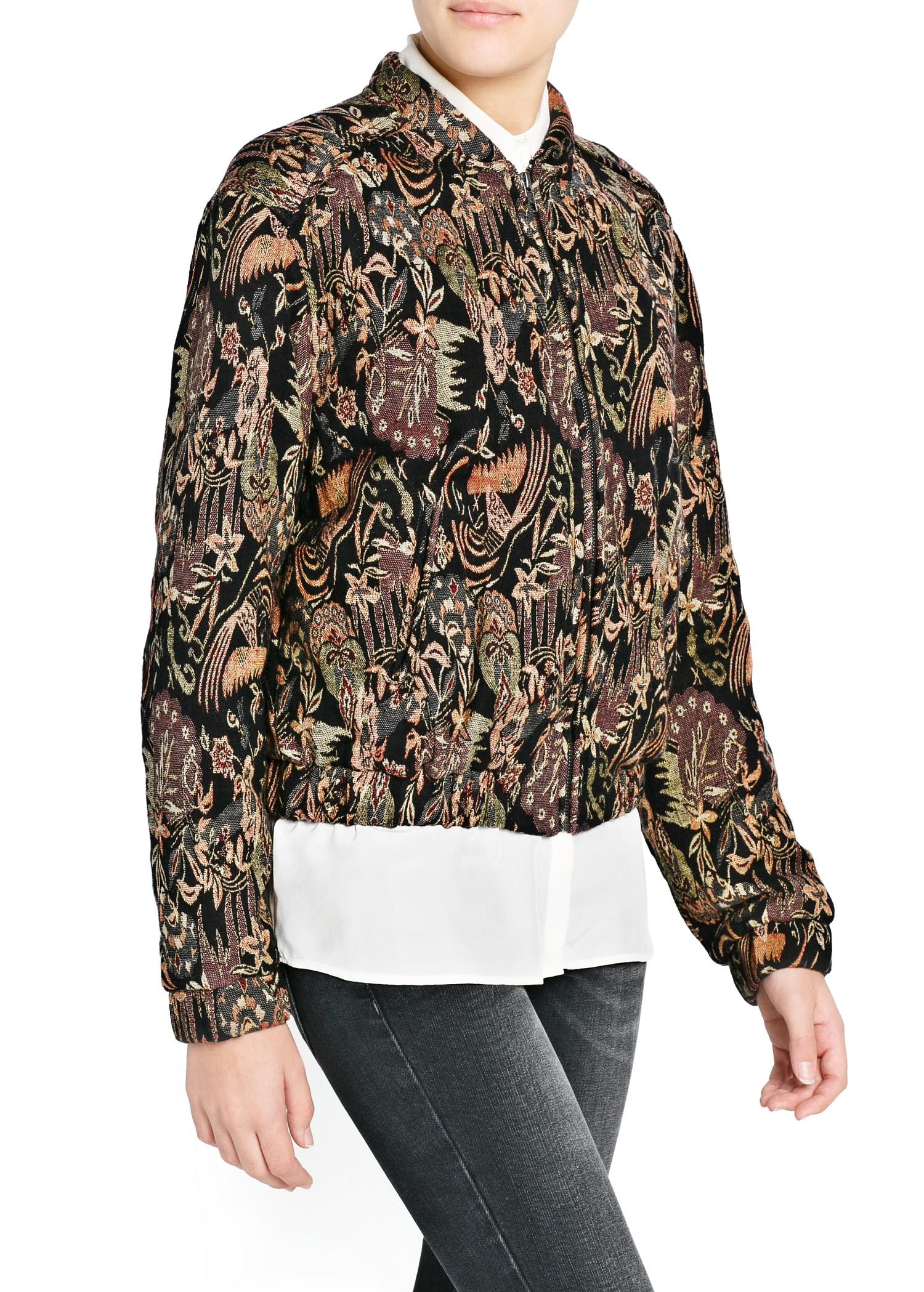 Mango Tapestry Jacquard Jacket In Black Lyst