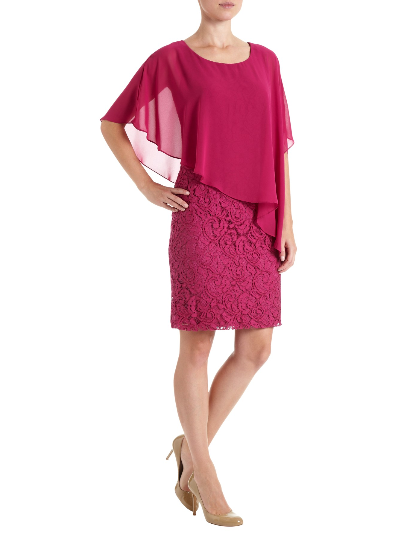 Adrianna papell chiffon drape overlay dress in pink lyst for Adrianna papell wedding guest dresses
