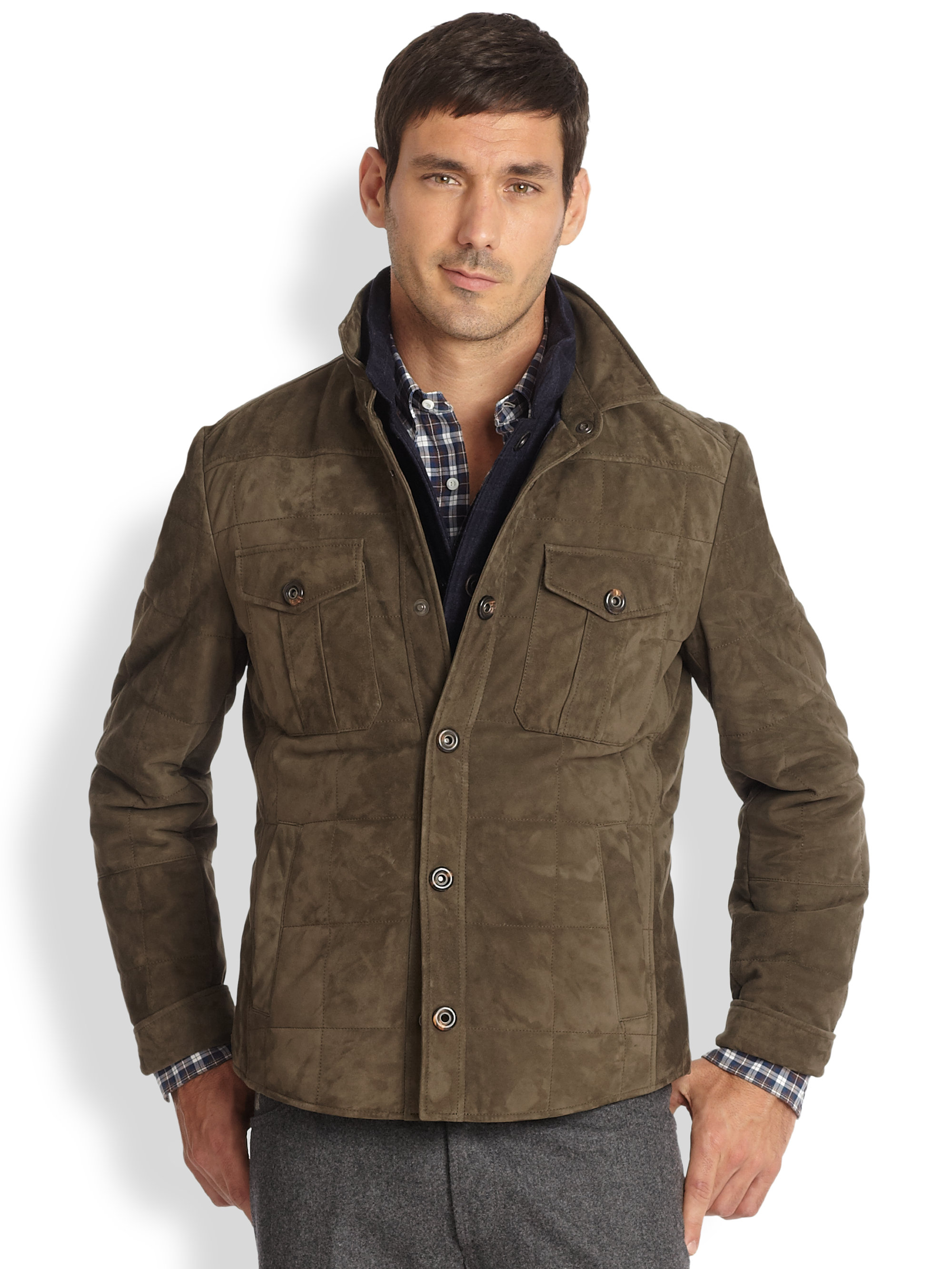 Brunello cucinelli Suede Quilted Shirt Jacket in Green for Men | Lyst