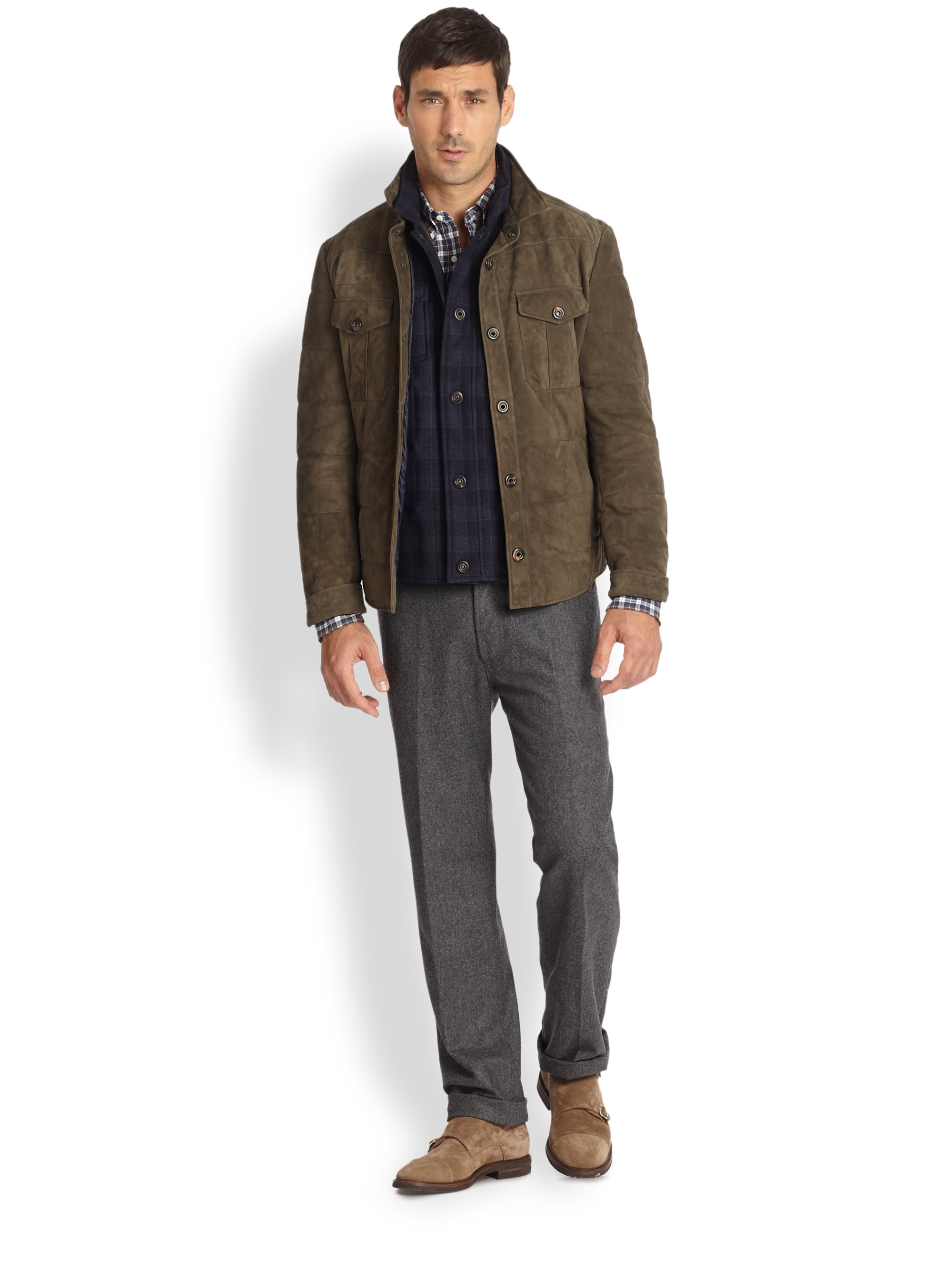 Lyst Brunello Cucinelli Suede Quilted Shirt Jacket In