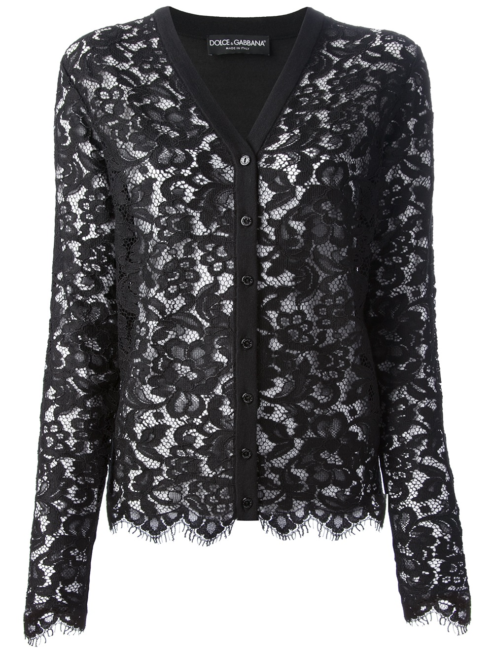 Dolce & gabbana Lace Cardigan in Black | Lyst