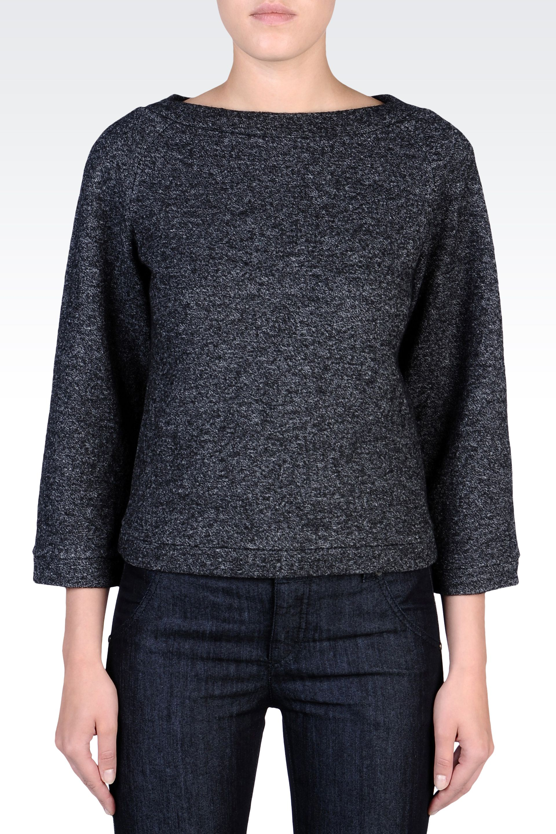 emporio armani sweater in melange wool with boat neck in. Black Bedroom Furniture Sets. Home Design Ideas