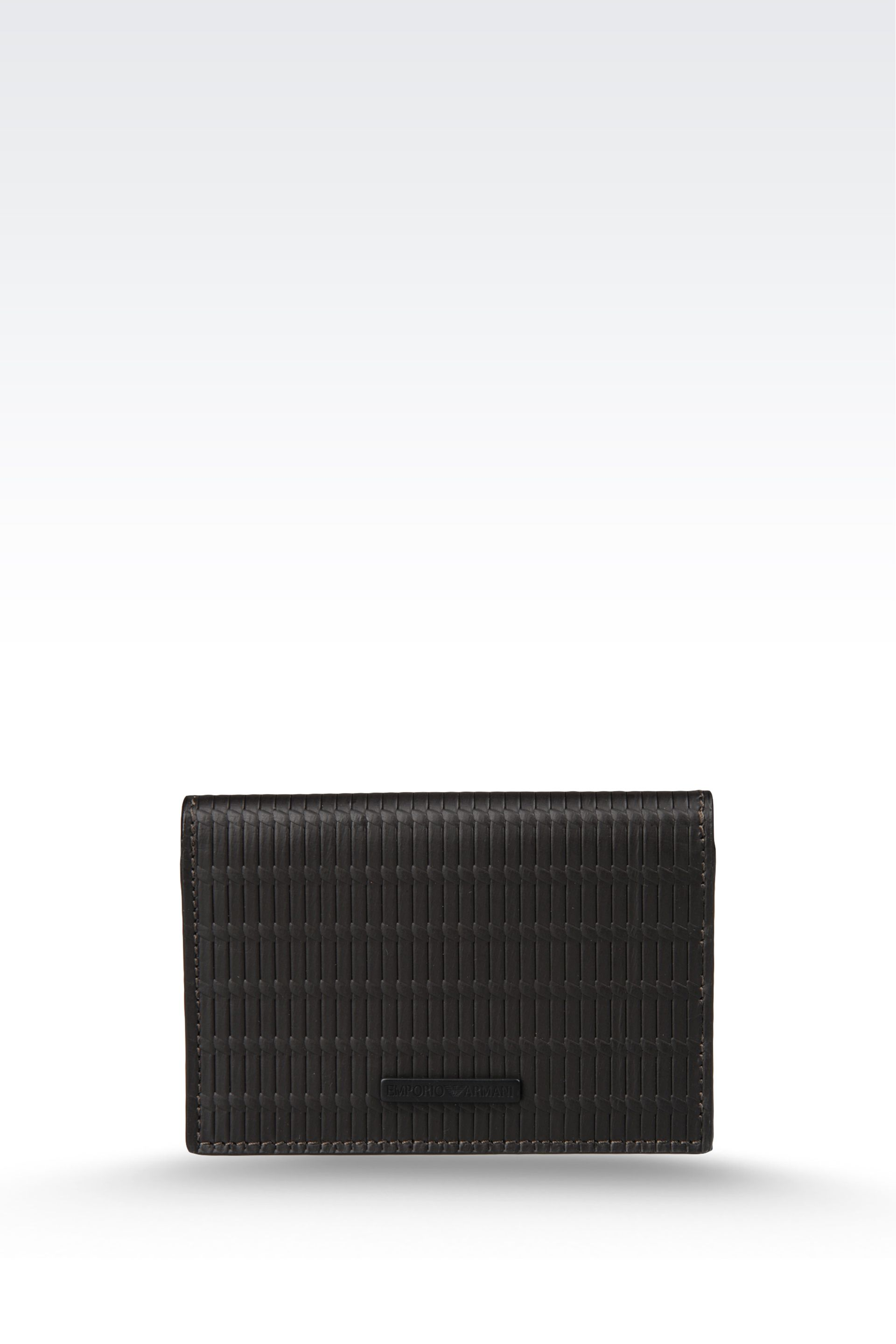 Lyst - Emporio Armani Business Card Holder in Woven Calf Skin in ...