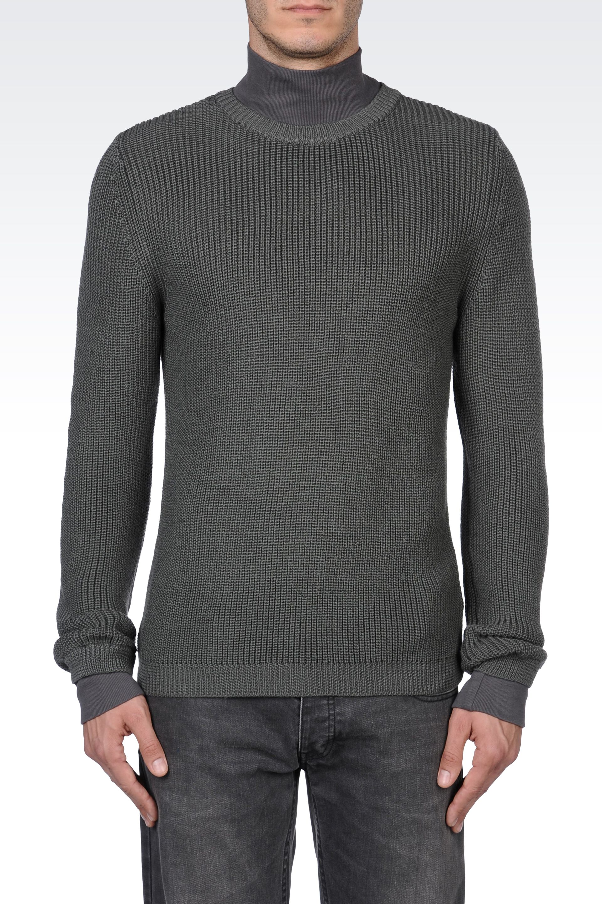 lyst emporio armani wool blend sweater with jersey collar in gray. Black Bedroom Furniture Sets. Home Design Ideas