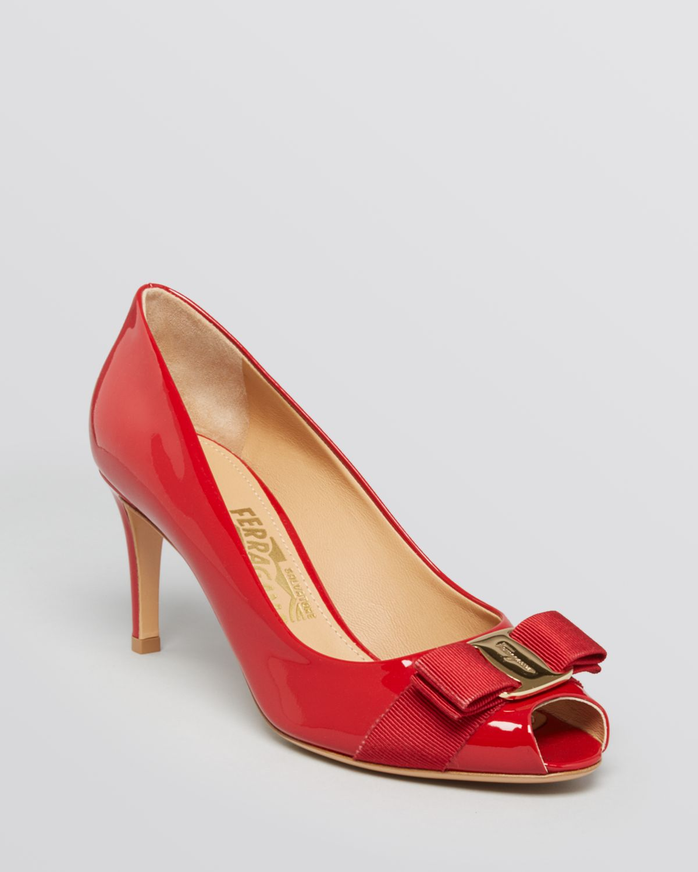 be36942291e Lyst - Ferragamo Peep Toe Pumps - Pola in Red