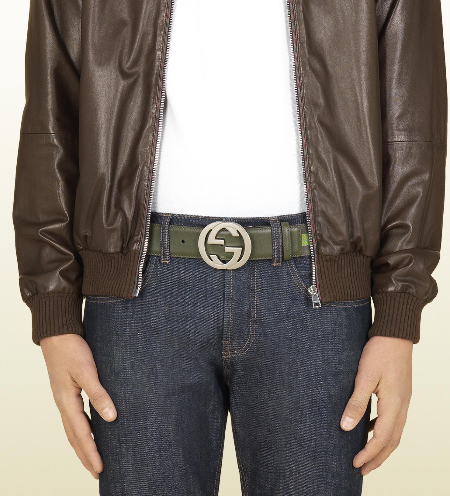 934dbdb5aac Gucci Nylon Web Belt with Interlocking G Buckle in Green for Men - Lyst