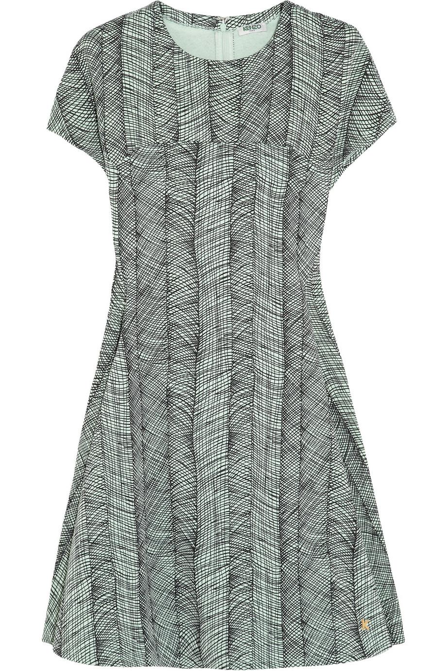 Lyst Kenzo Printed Cotton Jersey Mini Dress In Green