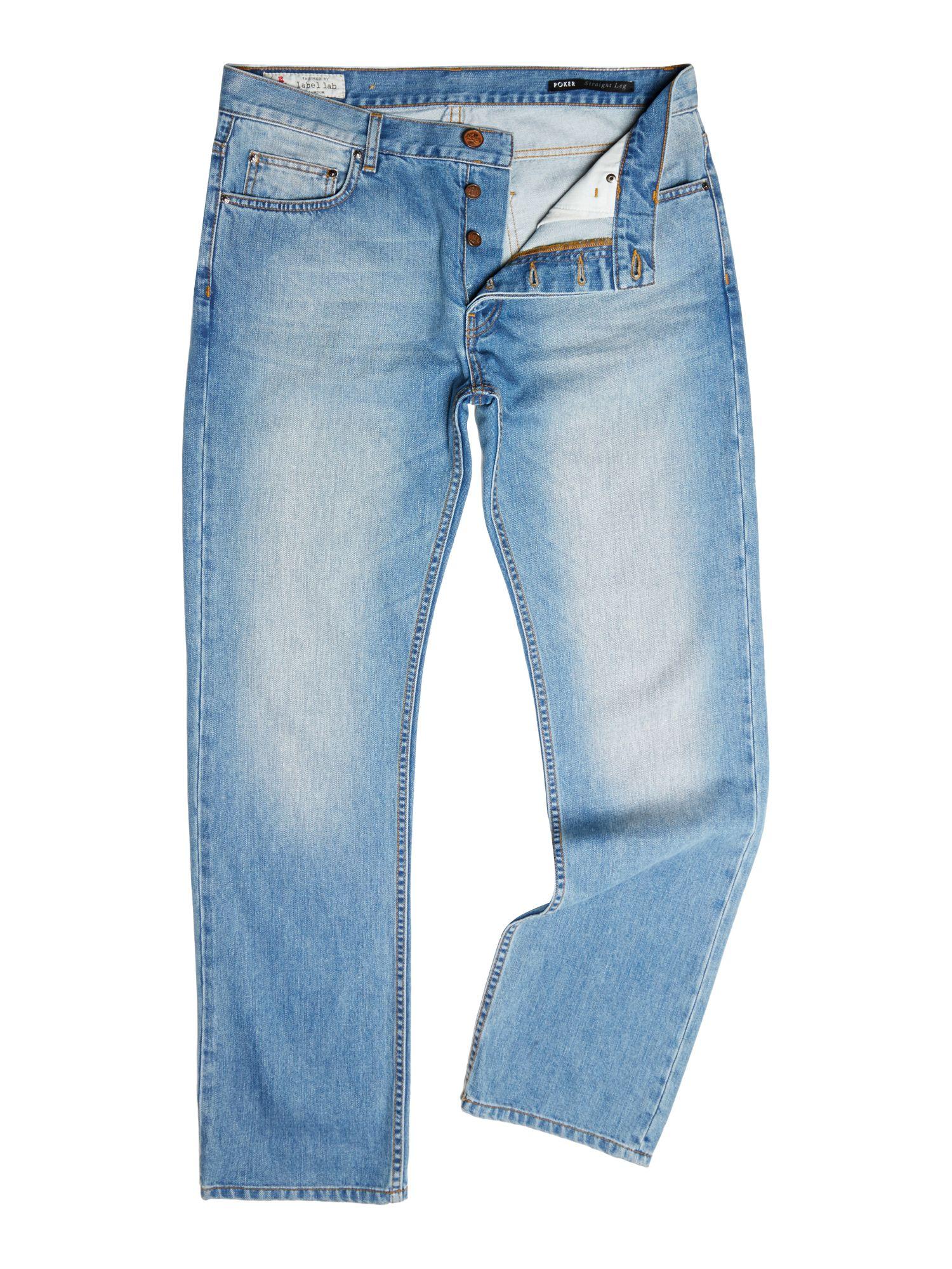 label lab poker straight taper leg jean in blue for men mid blue lyst. Black Bedroom Furniture Sets. Home Design Ideas