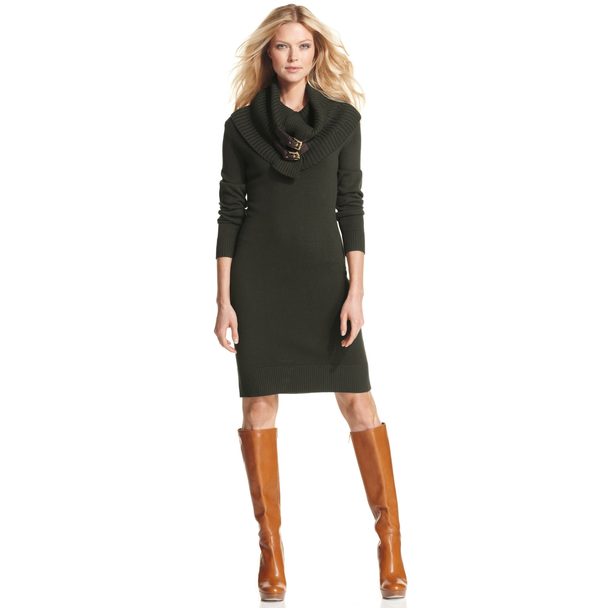 5148fbd352e3 Michael Kors Longsleeve Cowlneck Buckle Sweater Dress in Green - Lyst
