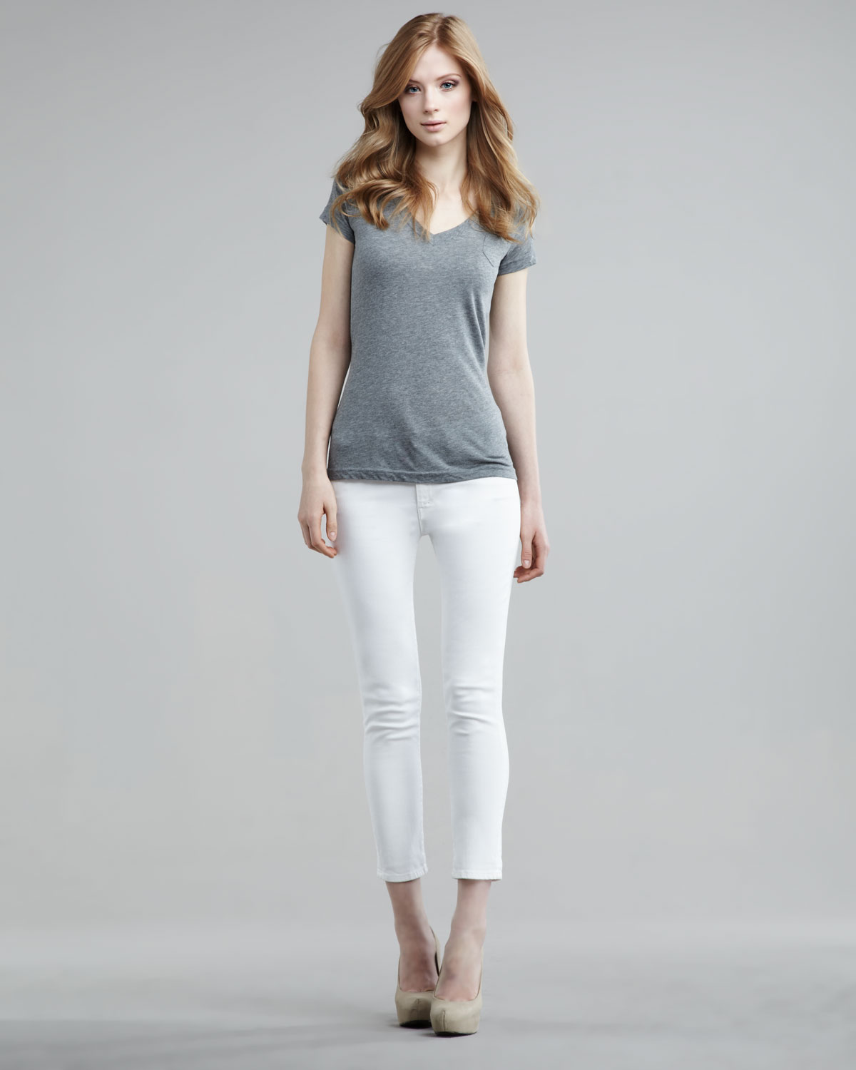 Mother The Looker Sleeping Beauty Highwaist Cropped Jeans in White ...
