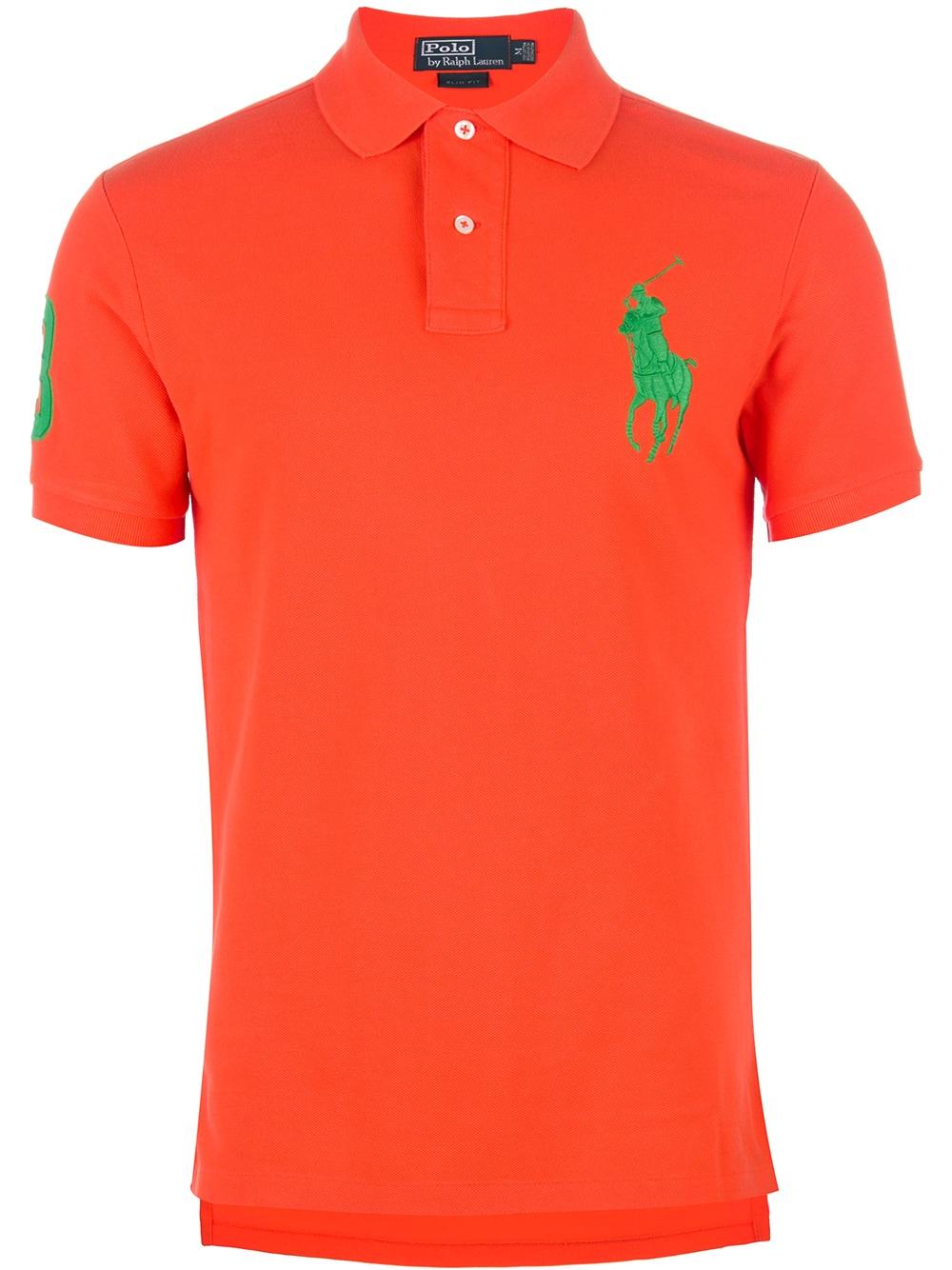 Polo ralph lauren large logo polo shirt in orange for men for Orange polo shirt mens