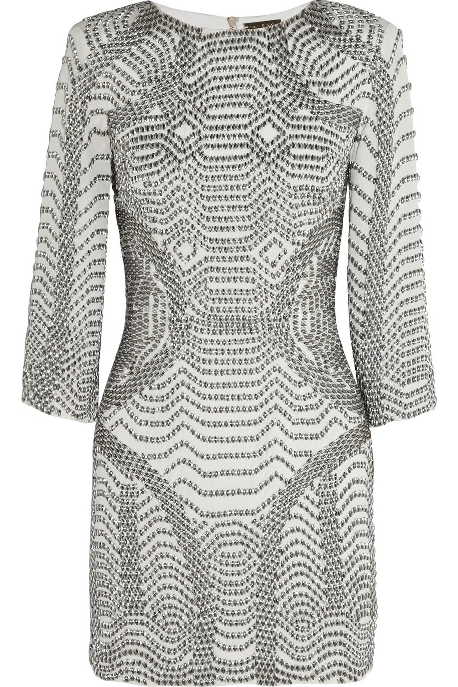 sass bide here now beaded silk mini dress in gray lyst