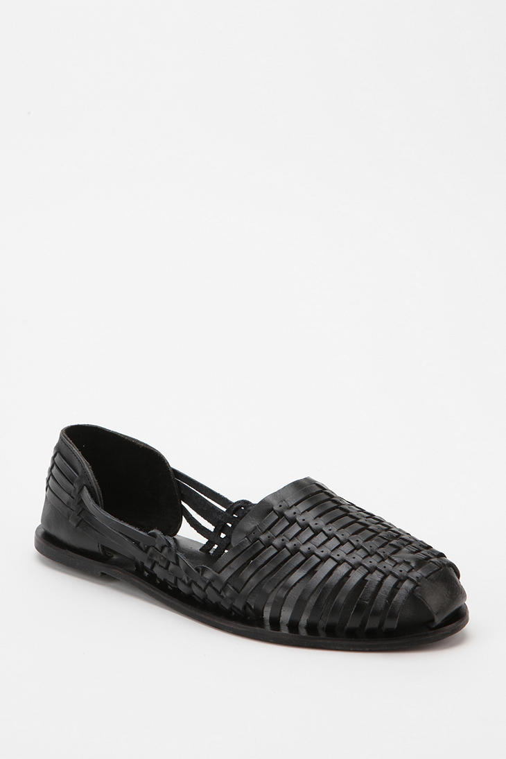 4db2915a3f7 Urban Outfitters Black Ecote Woven Leather Huarache Sandal