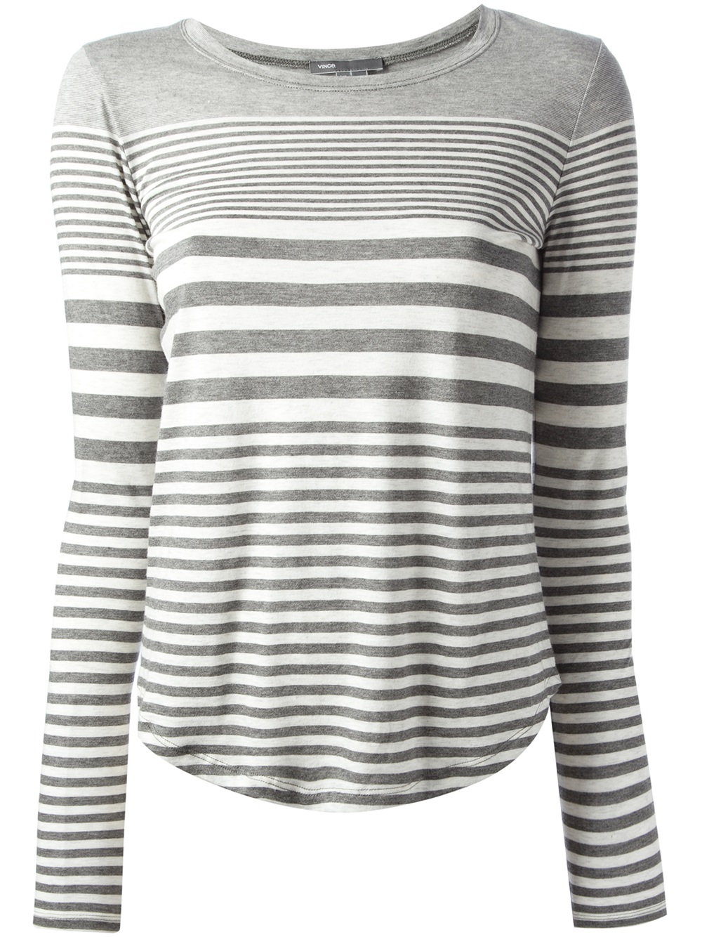 Lyst vince striped t shirt in gray for Grey striped t shirt