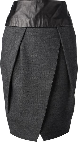 wang leather waistband tulip skirt in gray grey