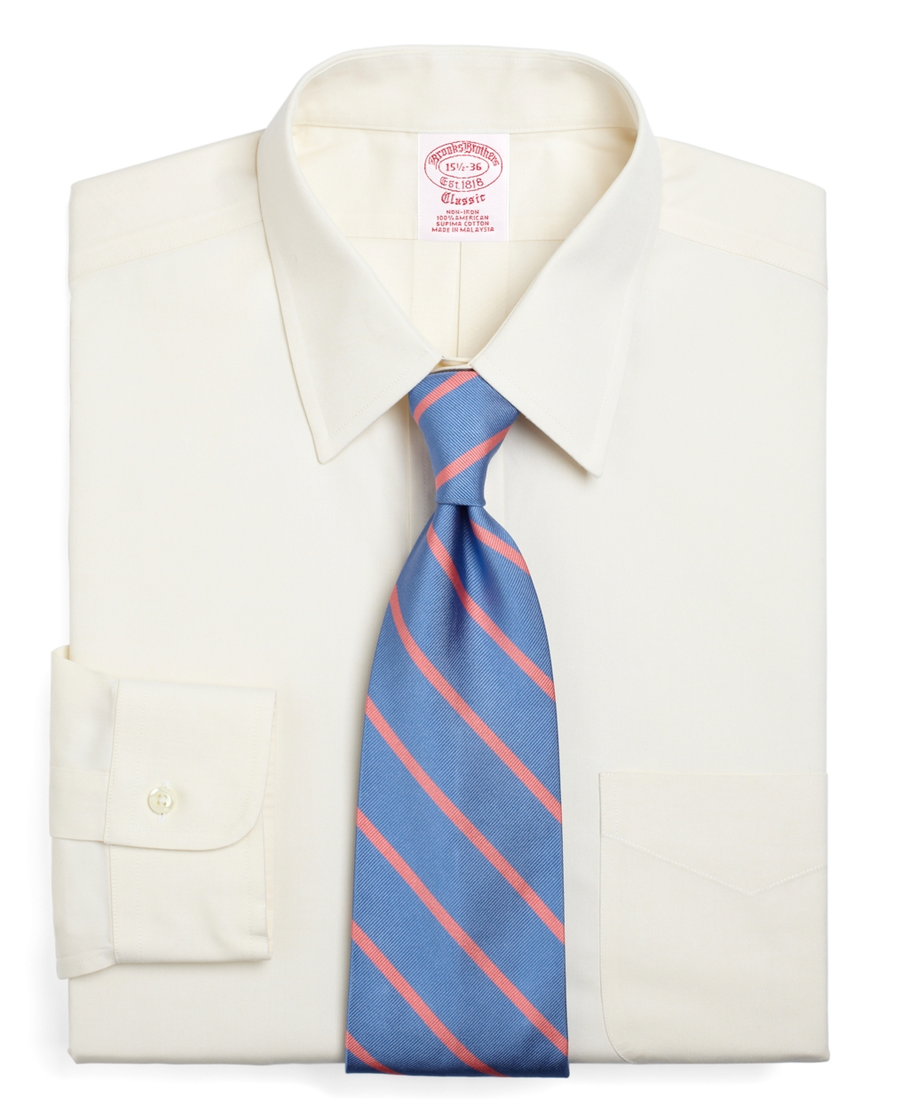Brooks brothers non iron traditional fit point collar for Brooks brothers dress shirt fit